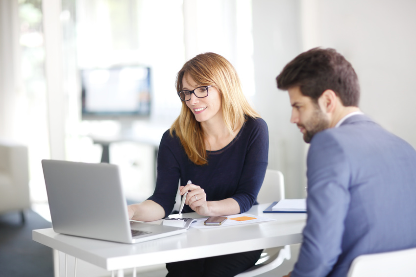 Financial advisor with client